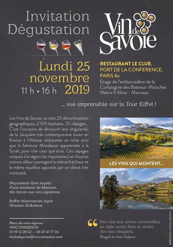 Dégustation le 25 novembre au restaurant Le Club, port de la conférence, Paris 8ème